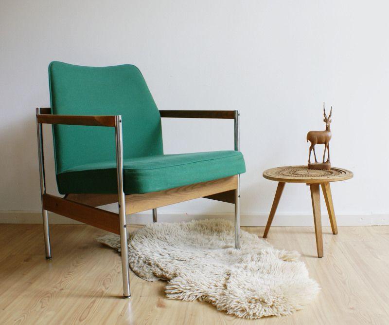 Groene retro design stoel vintage fauteuil toffe for Fauteuil retro design