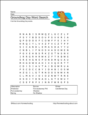 10 Word Games And Coloring Pages For Groundhog Day Groundhog Day