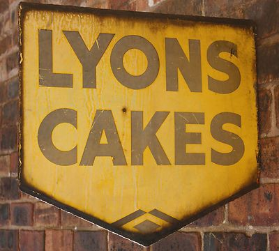 LYONS CAKES vintage enamel sign, double sided, 1930\'s art deco style ...