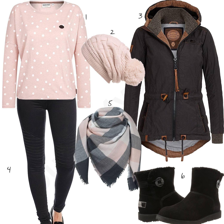 Lässiges Damenoutfit in Rosa und Schwarz | Winter mode