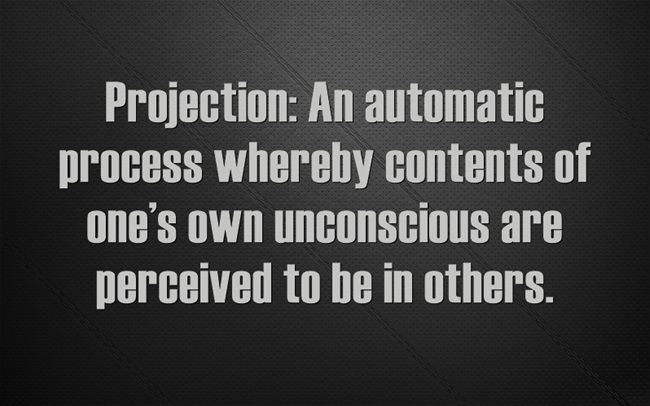 Projection: An automatic process whereby contents of one's own unconscious are perceived to be in others.