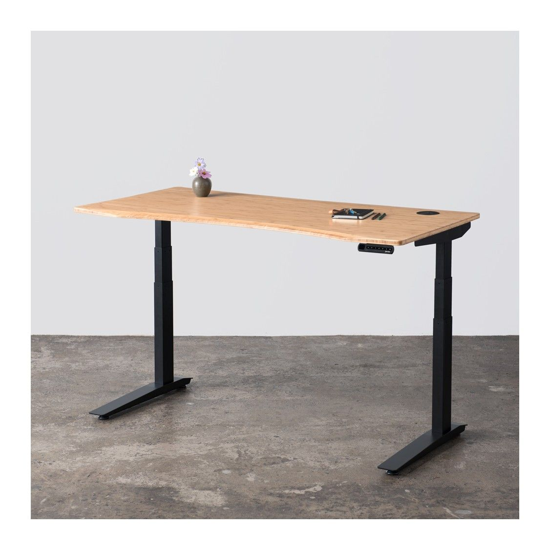 Jarvis Bamboo Adjustable Standing Desk In Silver