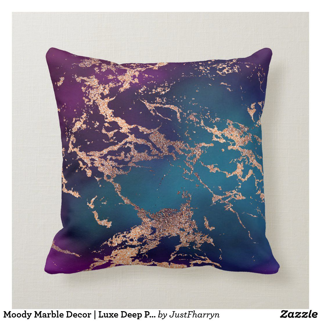 Moody Marble Decor Luxe Deep Purple Teal Gold Throw Pillow