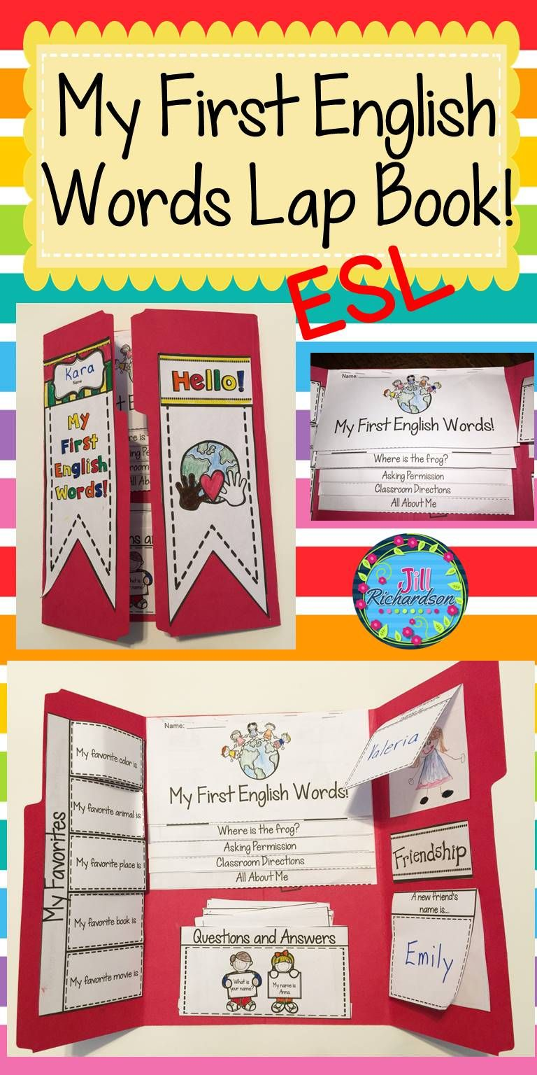 ESL/ELL Newcomers My First English Words Lap Book!:  Help make your English Language Learners transition into your classroom easier! This Introductions resource can be used for making a lap book or as an interactive notebook! Includes:Cover Flip book of My First English Words Flap book of My Favorites10 Questions and Answers Flaps for An Old Friend and A New Friend to help the children realize that old as well as new friends are important.