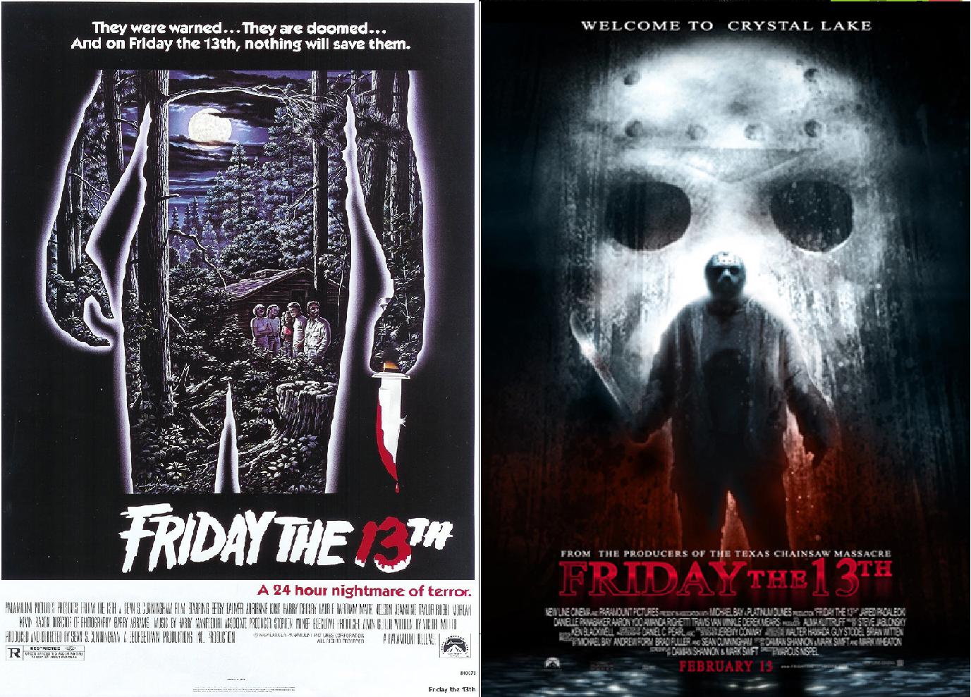 friday the 13th original movie poster and remake movie