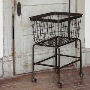 rolling laundry cart rolling cart metal cart on wheels rolling laundry basket farmhouse. Black Bedroom Furniture Sets. Home Design Ideas
