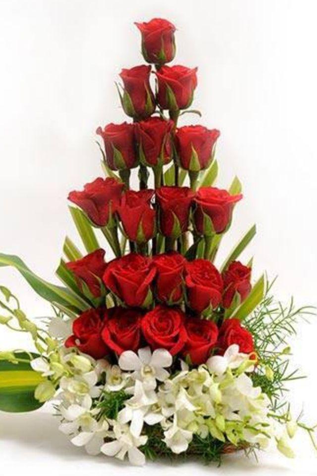 Resultado De Imagen Para Arreglos Florales Unitarios Con Rosas Rojas - Imagenes-de-arreglos-florales