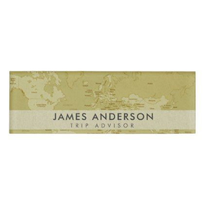 Retro Kraft Beige Vintage World Map Personalized Name Tag - Travel name tag template