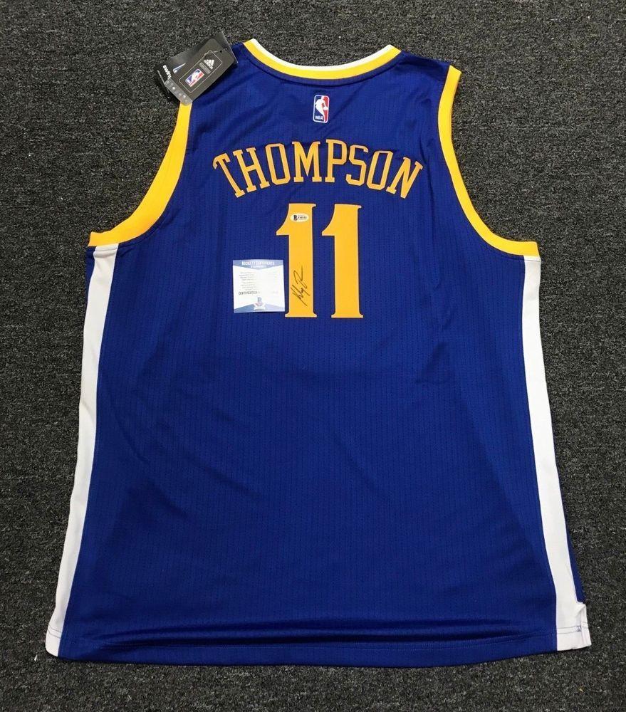 Klay Thompson  11 Signed Golden State Warriors Jersey AUTO Sz XL Beckett  BAS COA f483a2d54