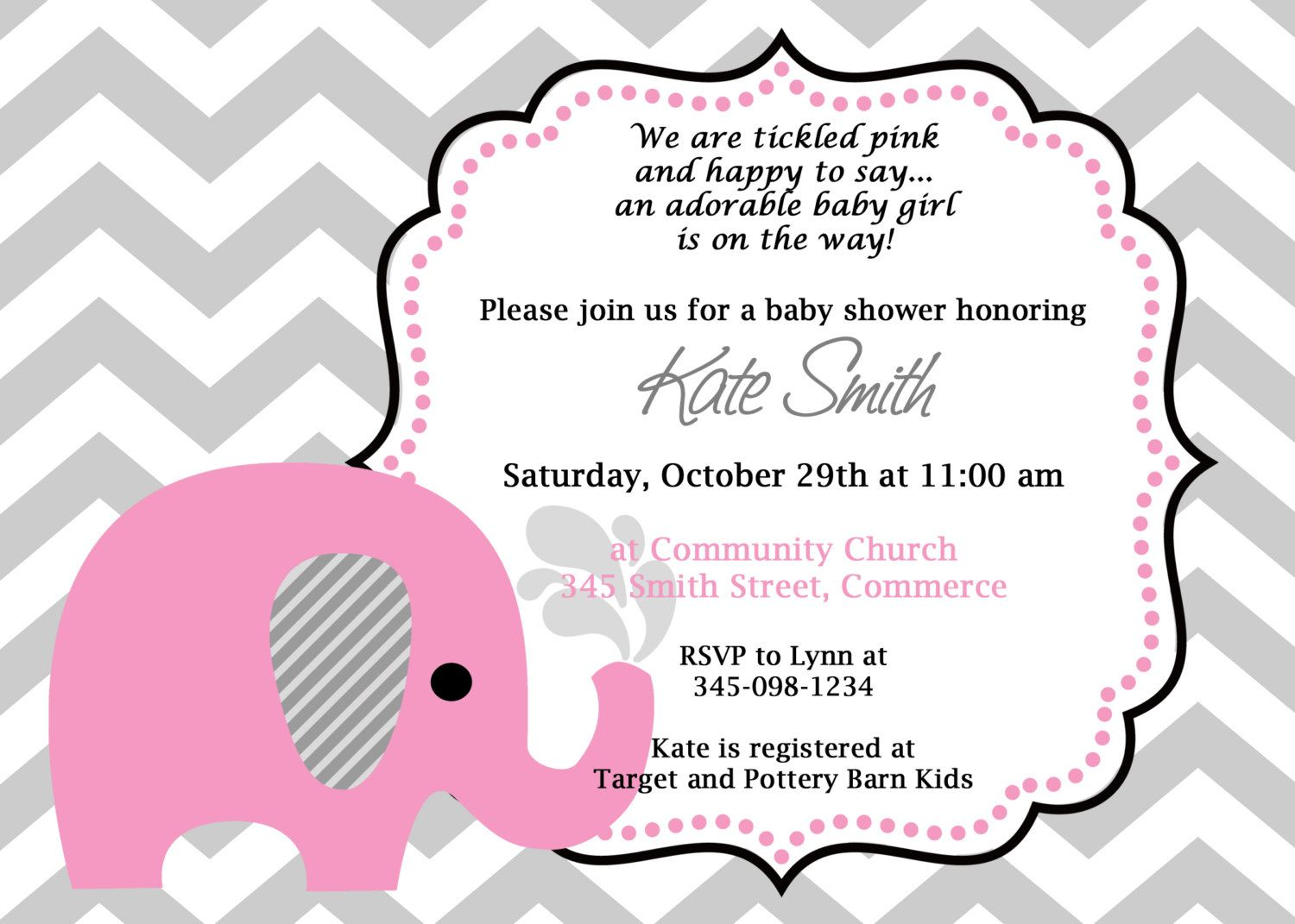 Printable Pink Elephant Chevron Baby Shower Invitation Customized – How to Word a Baby Shower Invitation