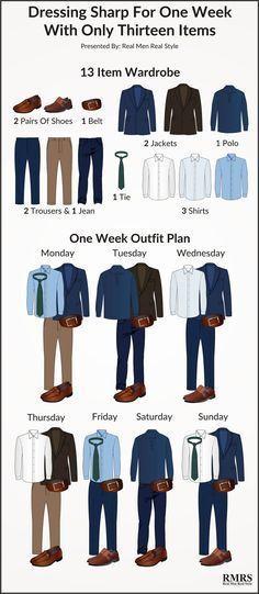 Infographie de garde-robe interchangeable à 13 articles – Infographie du plan de tenue d'une semaine  – Men's Fashion