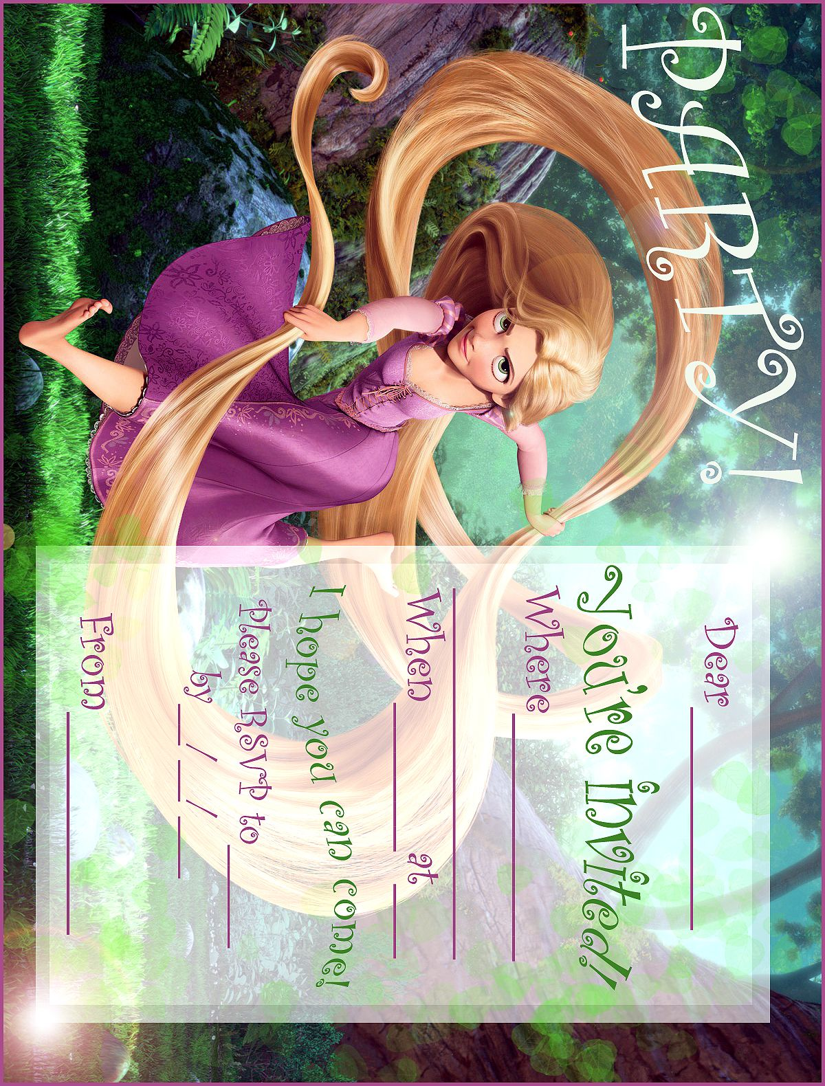Disney Coloring Pages Free Printable Rapunzel Party Invitation From Tangled