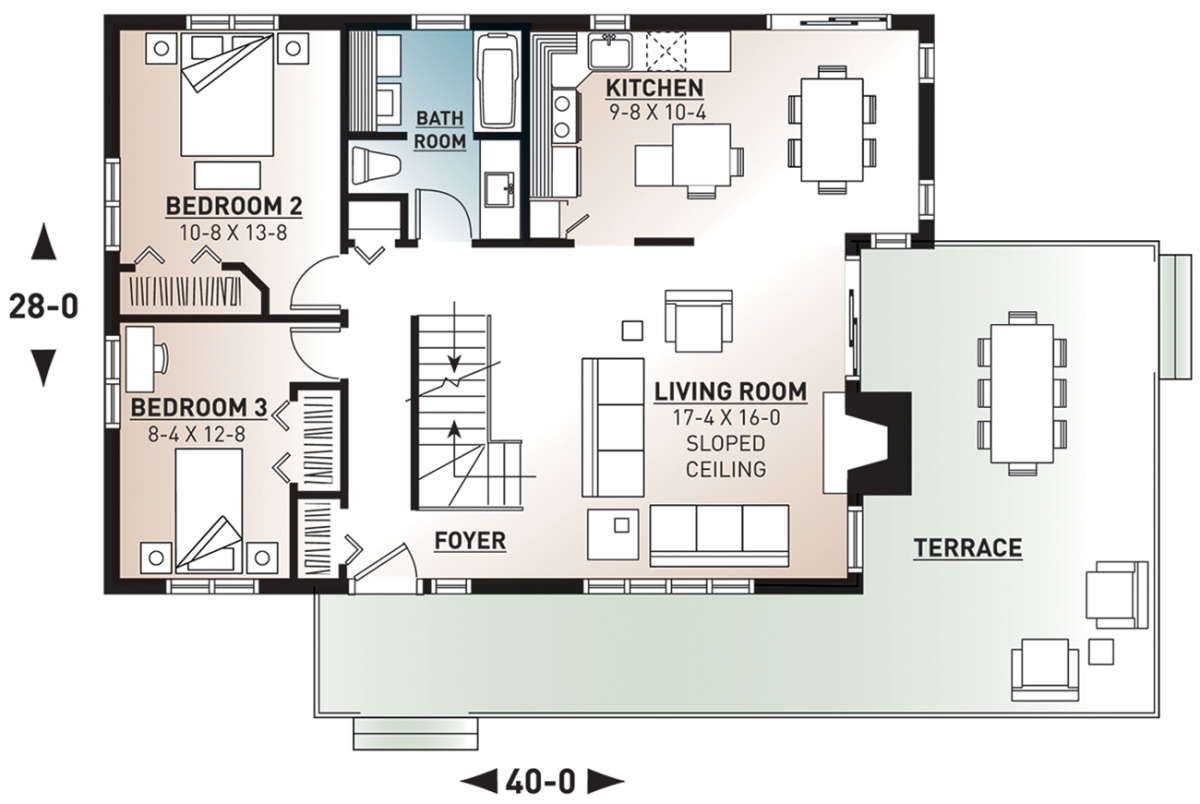 House Plan 034 00054 Contemporary Plan 1 516 Square Feet 3 Bedrooms 2 Bathrooms In 2021 House Plans House Floor Plans House Plans 3 Bedroom