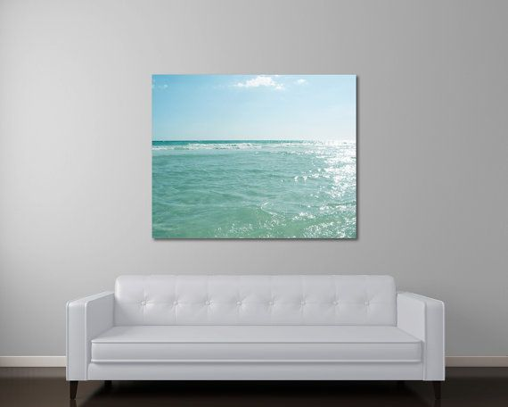 Ocean Art Mint Green Beach Canvas Minimalist