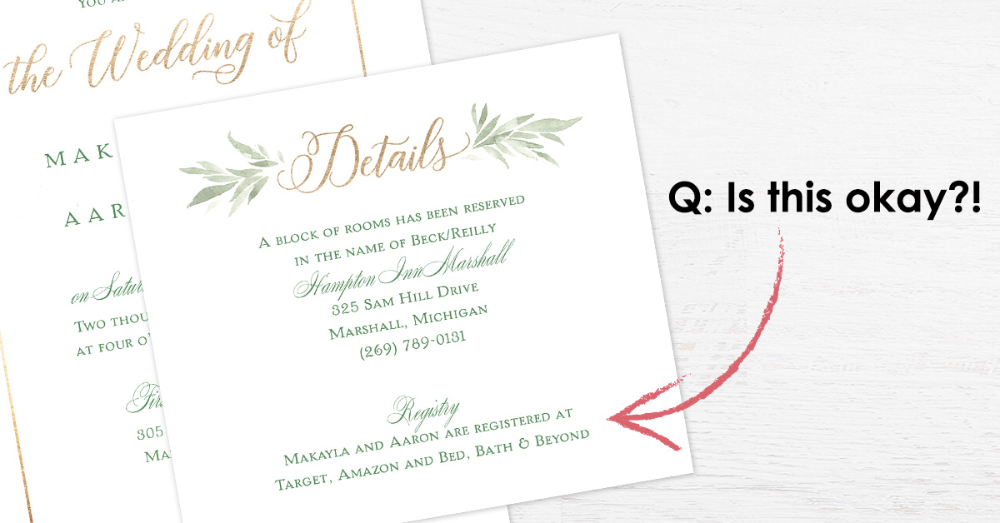 qa can we put registry information on our wedding