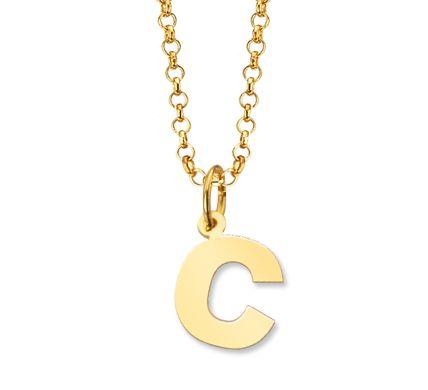 61c772fd1283 Colgante con Letra C mas Cadena de plata recubierta Oro