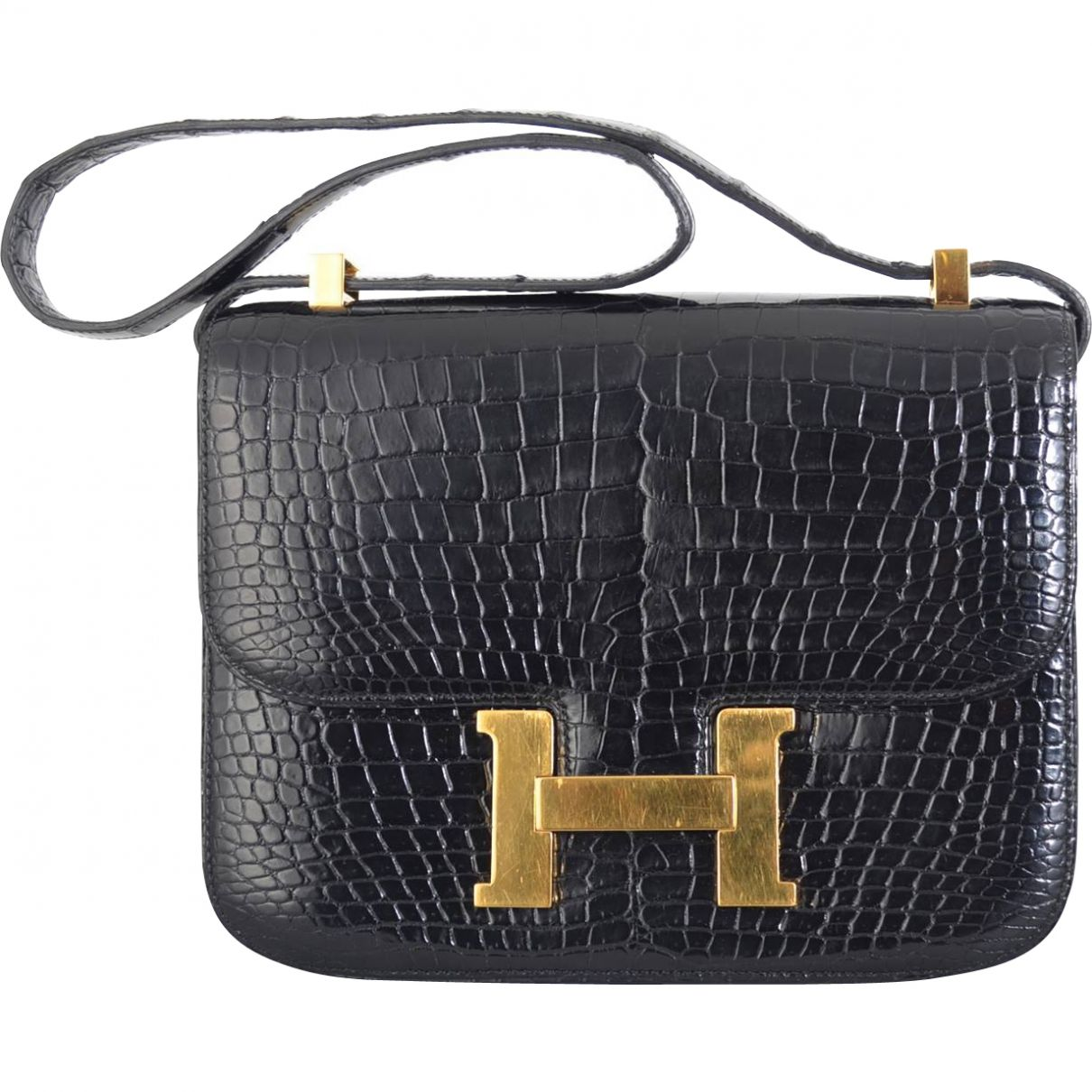 Constance leather crossbody bag HERMÈS Black