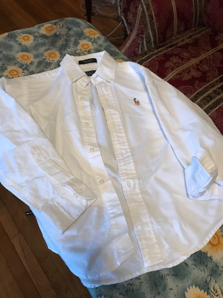 e74e872e Boys Ralph Lauren White W/Brown Horse Button Down Polo Shirt, Size 7 | eBay