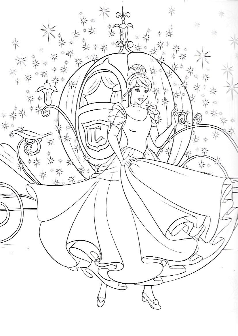 Cinderella And Carriage Cinderella Coloring Pages Disney