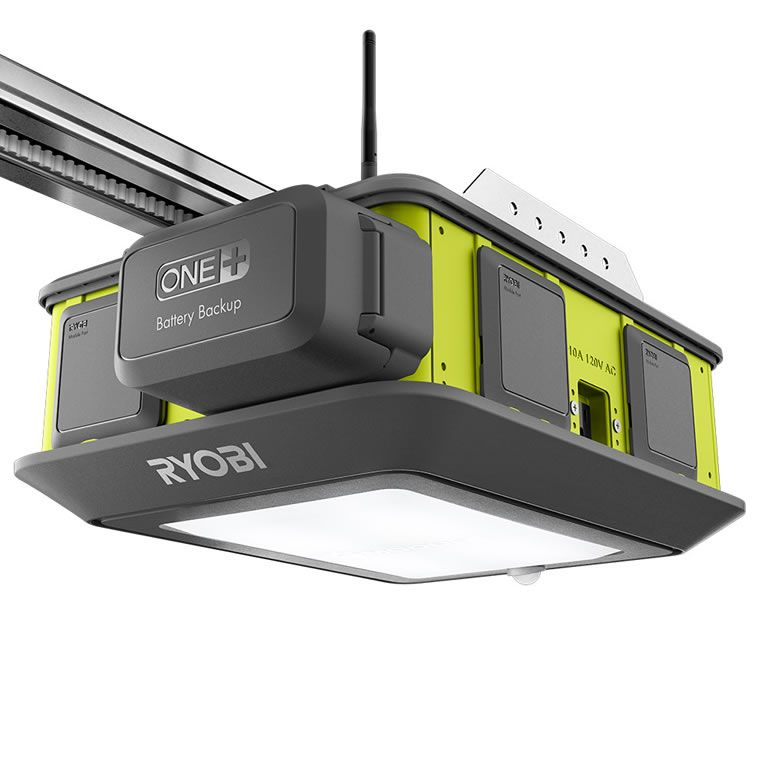 Ryobi Smart Garage Door Opener Has A Fan Laser Beams Co2 Sensor Speakers To Rock Out Dream Home Tech Garage Door Opener Quiet Garage Door Opener Sma