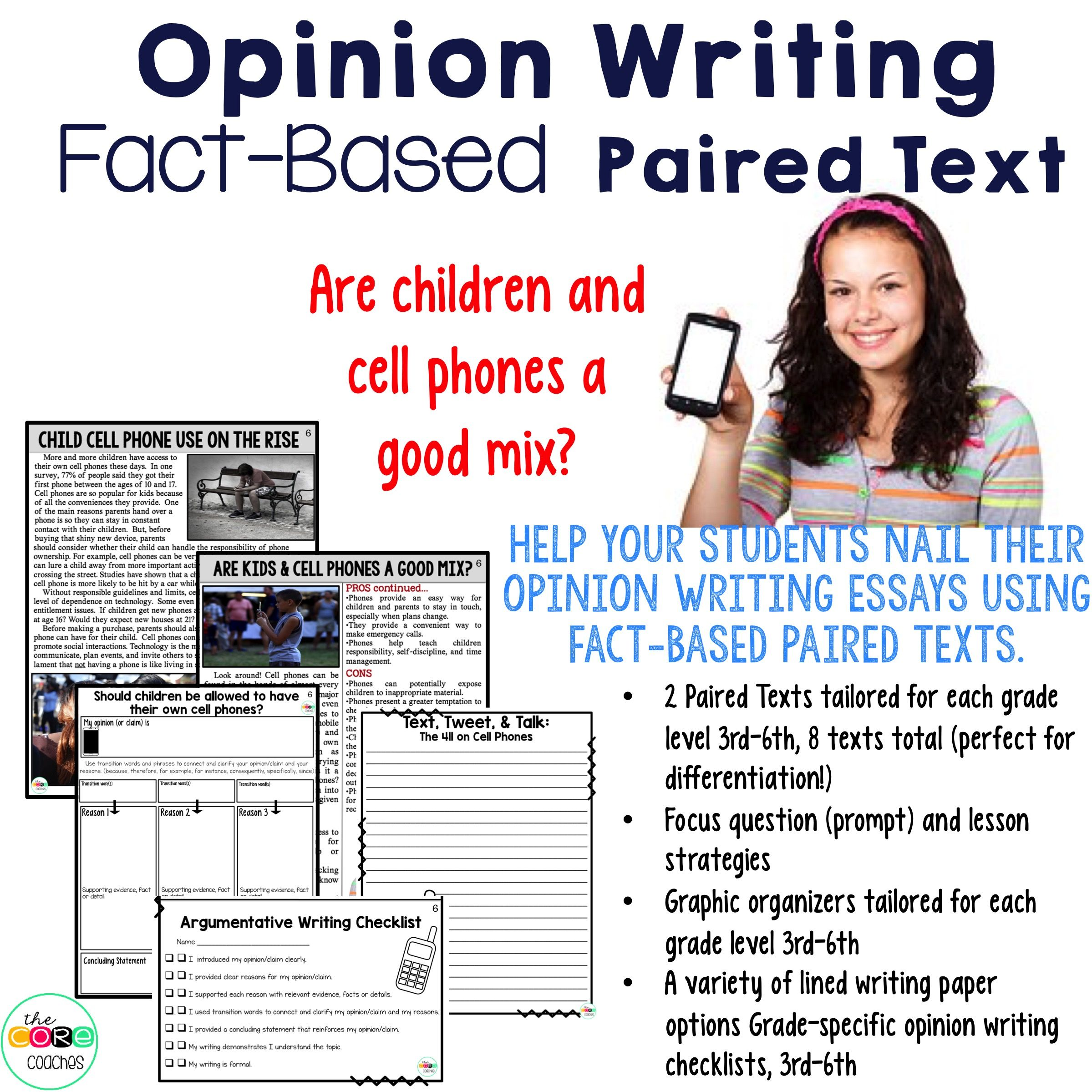 cell phones paired texts writing on demand argumentative and help your students nail their opinion argumentative in 6th writing essays using fact