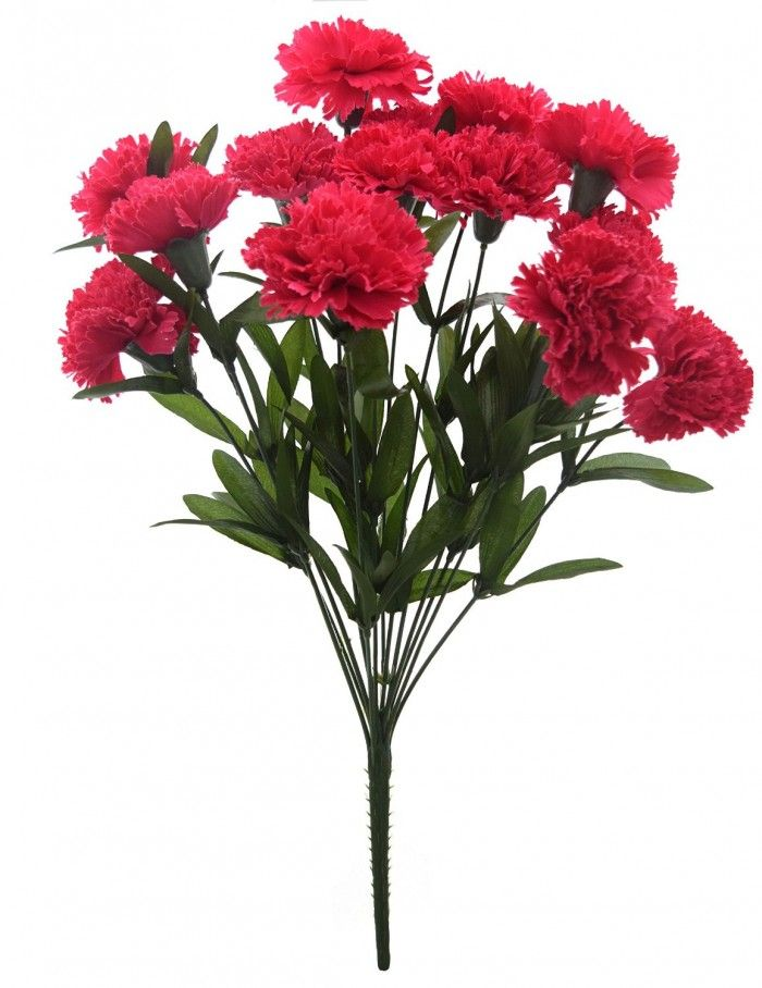 48 Cm Tall Artificial Carnation Bunch With 14 Flower Dark Pink Flowers Online Artificial Flowers Flower Decorations