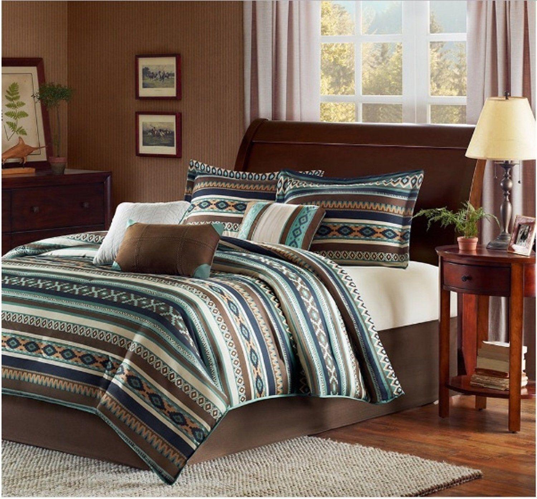 7 Piece Southwest Printed Theme Comforter Set Cal King