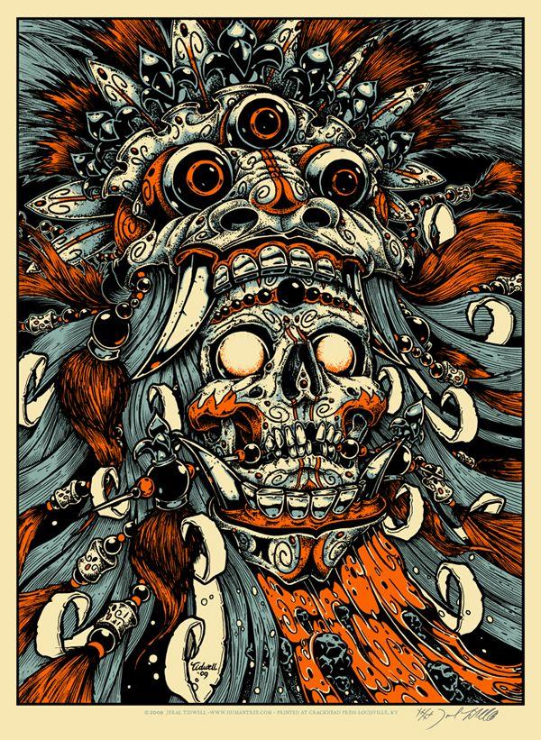 Humantree com the art of jeral tidwell artwork bali skull print