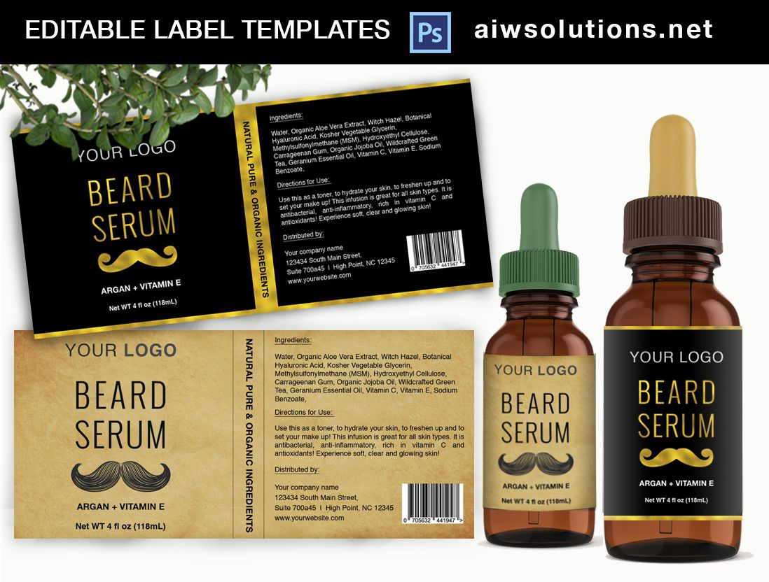 Beard Serum Label Template ID34 | Label templates, Cosmetic labels ...