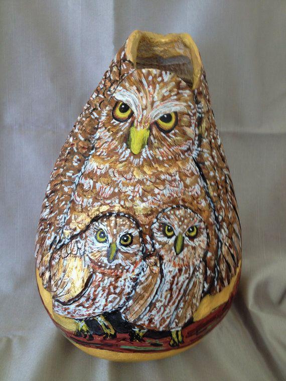 Sold-gourd-art-burrowing-owl-family