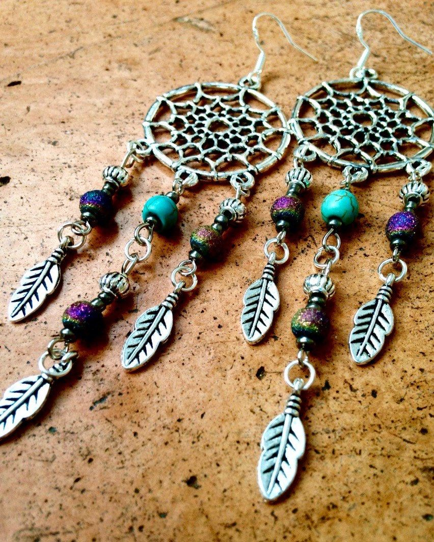 boho dream catcher earrings, tibetan silver, natural turquoise
