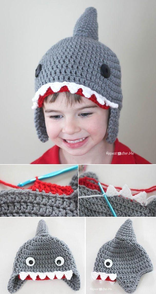 Crochet Shark Hat Pattern | Häkelideen, Stricken häkeln und Häkeln