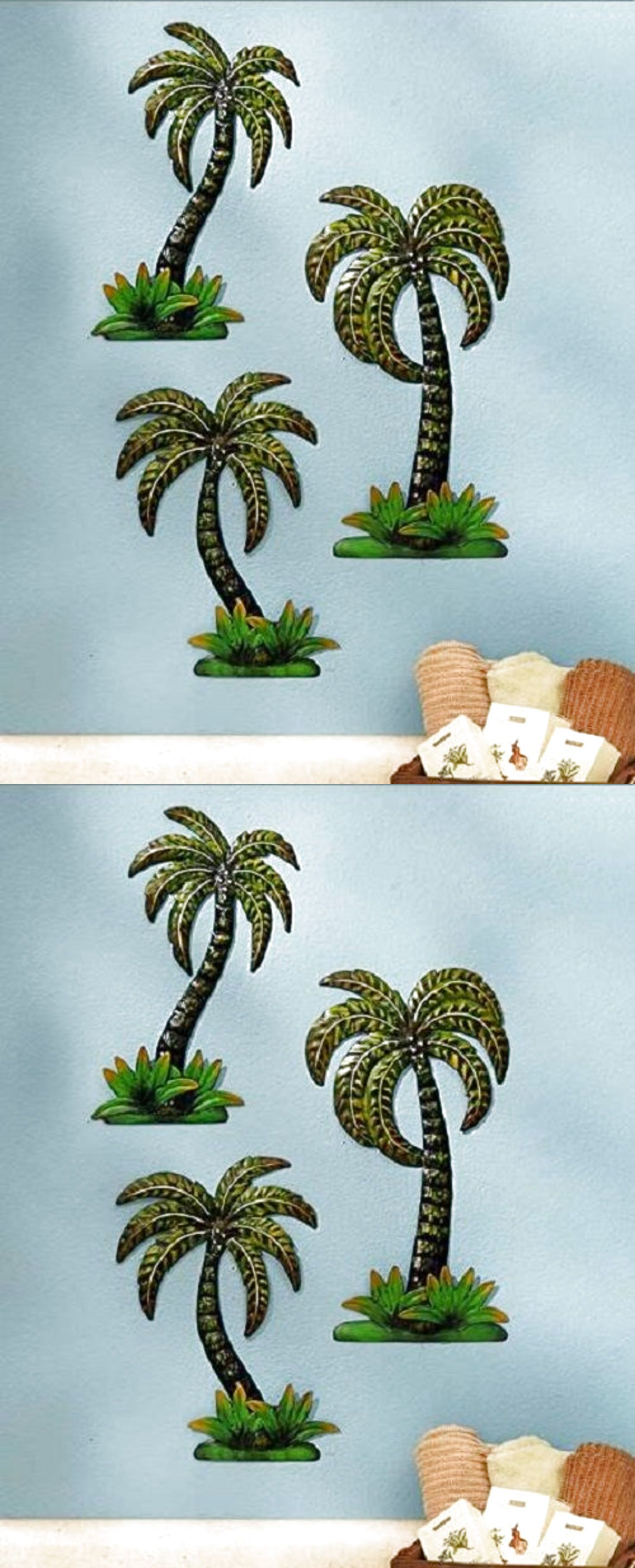 Metal wall art tree palm bathroom decor tropical living room kitchen