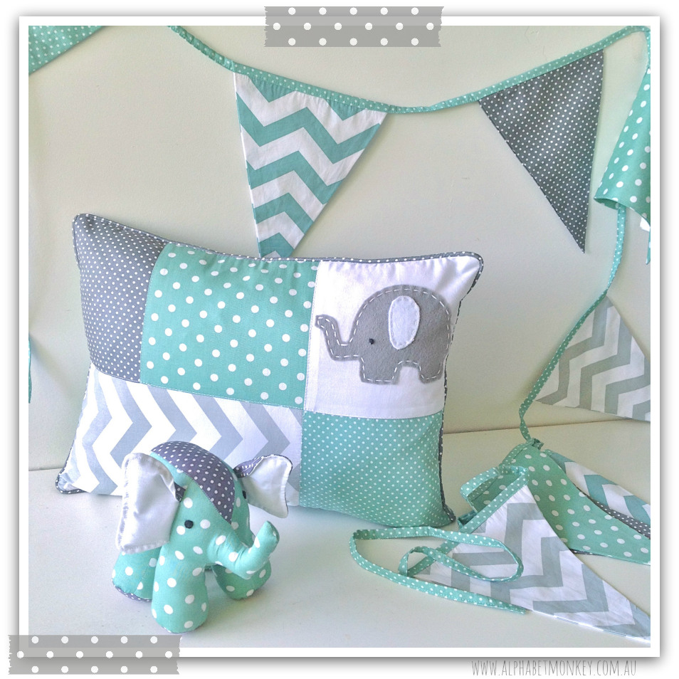 mint and grey elephant nursery range by alphabet monkey elephant. Black Bedroom Furniture Sets. Home Design Ideas