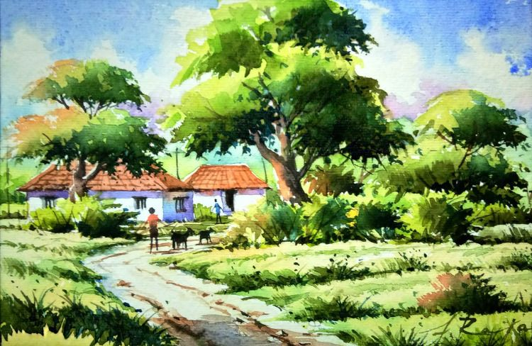 Beautiful Depiction Of A Village Area Is Painted By The Artist This Artwork Is Perfect To Bring The Bliss Landscape Paintings Landscape Art Nature Paintings