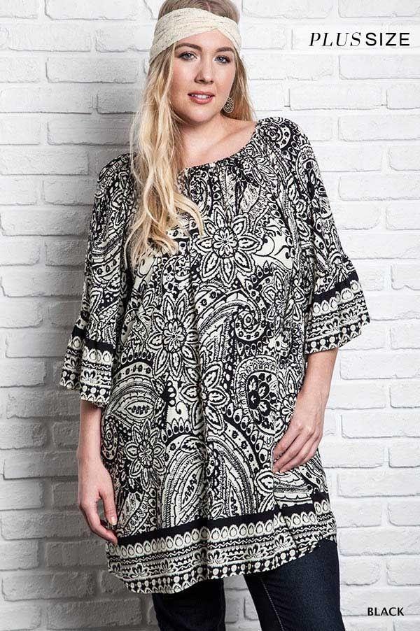Umgee USA Crochet Lace Off the Shoulder A-Line Tunic Dress Black Plus XL 1XL New