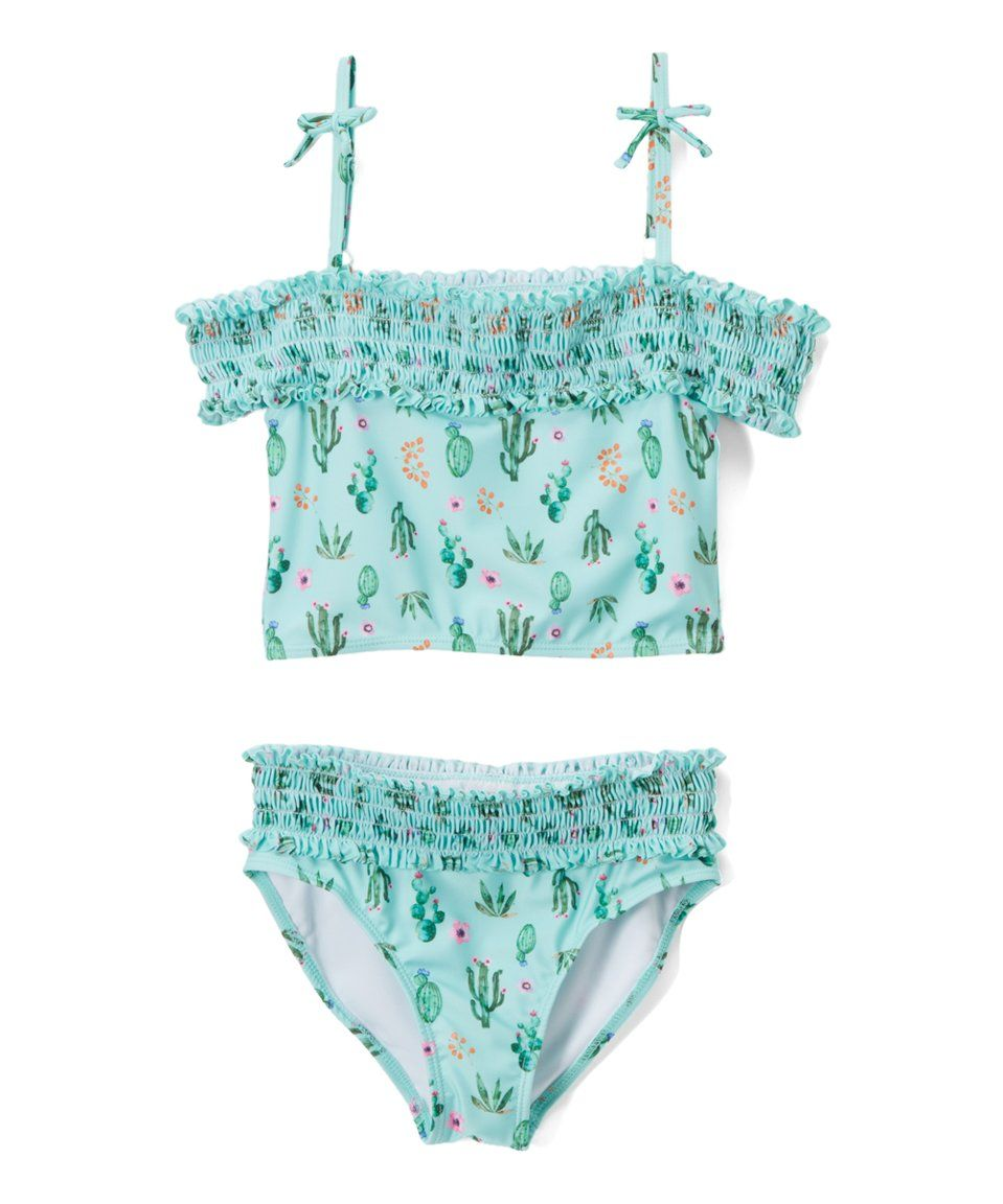 2093672b06615 Take a look at this Green Cactus Off-Shoulder Tankini - Girls today ...