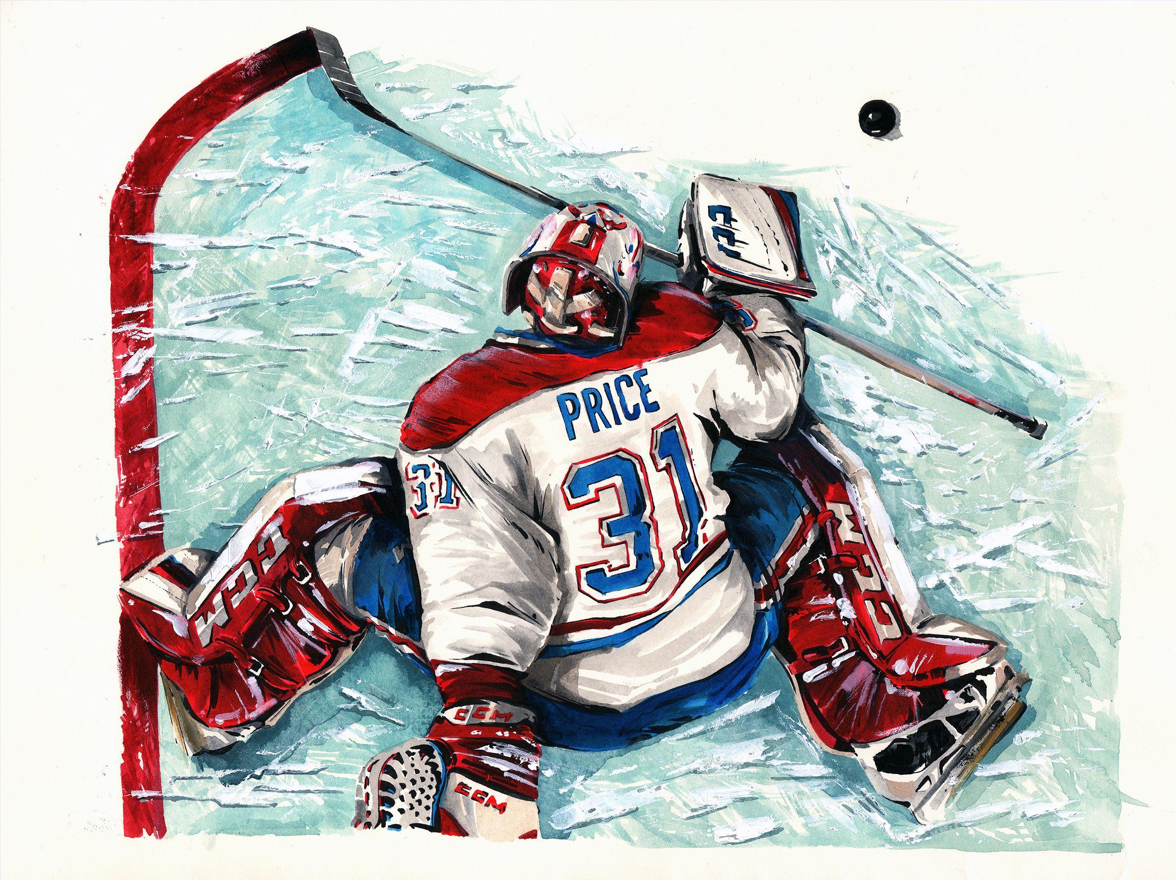Carey Price Montreal Canadiens Original Painting By Mark Penxa Sports Painting Hockey Life Nhl