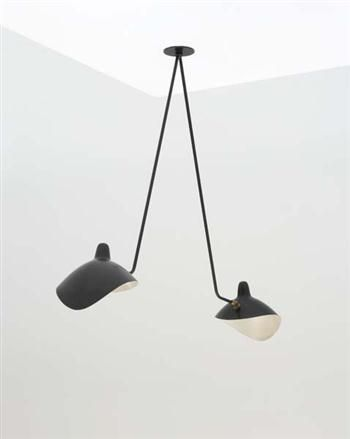 Two Arm Ceiling Light Manufactured By Atelier Serge Mouille France Designed By Serge Mouille 1953 Luminaire Lampe Decoration Abat Jour