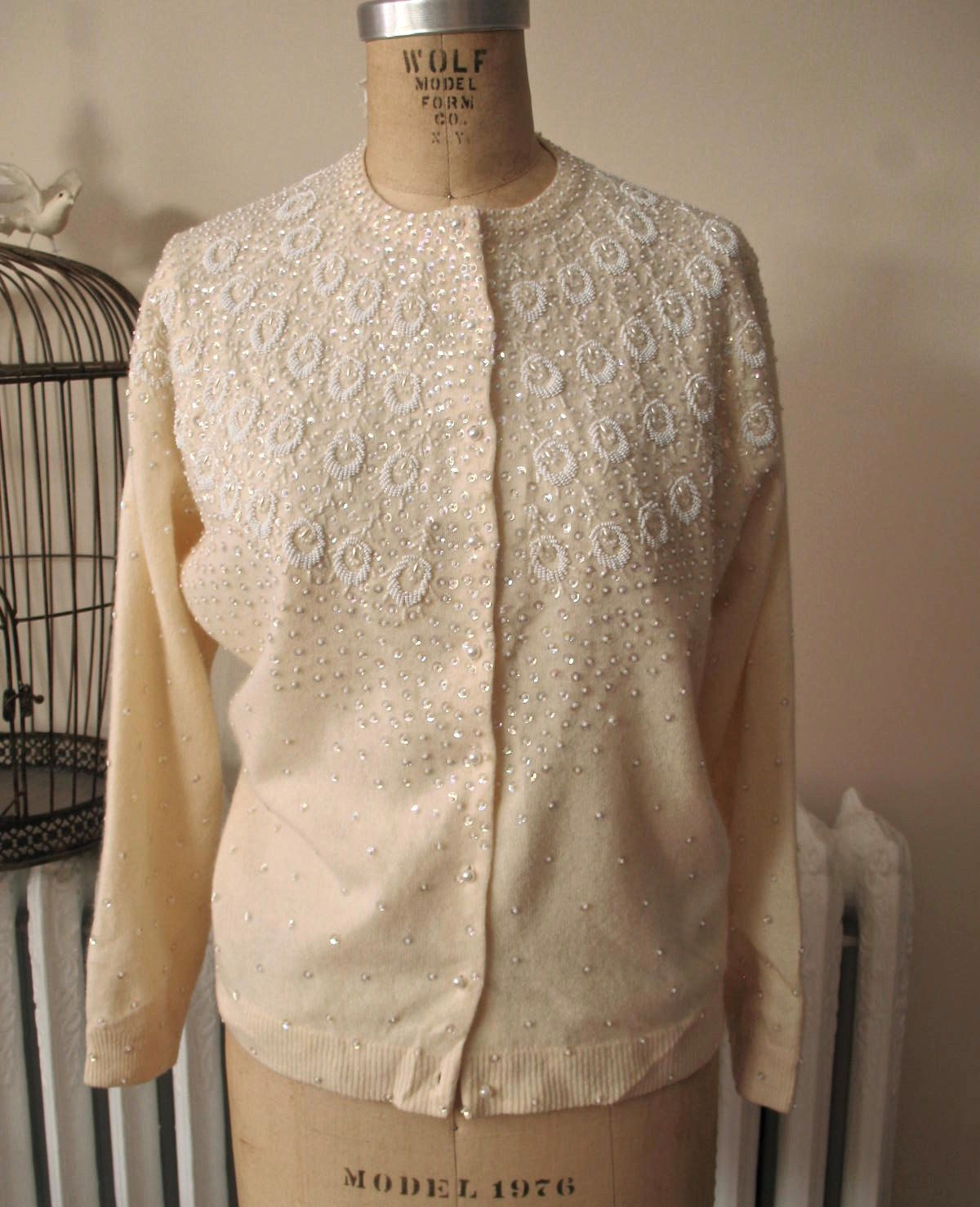 Snow Shimmer | Vintage 1950s 1960s Beaded Cardigan Ivory Wool ...
