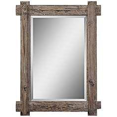 "Claudio Walnut 29 1/4"" x 39 1/4"" Wood Wall Mirror"