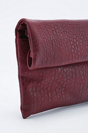 Deena Ozzy Foldover Clutch Bag In Burgundy Urban Outers