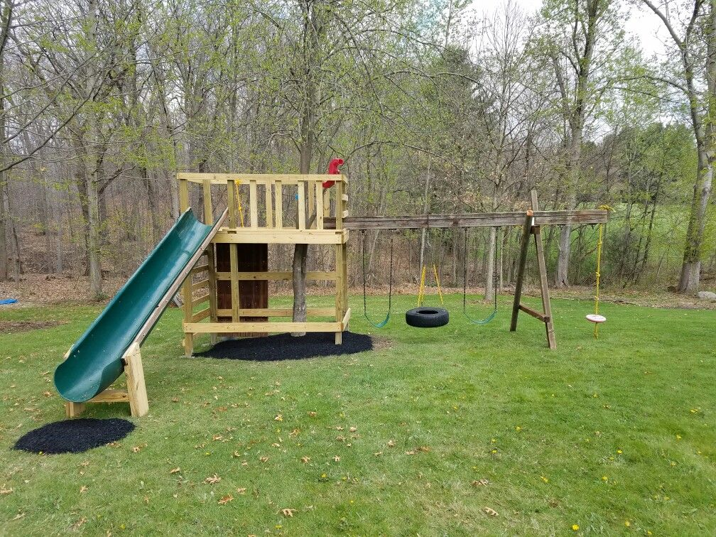 Playset Using New Frame Old 12 Ft Slide And Beam Playset Beams