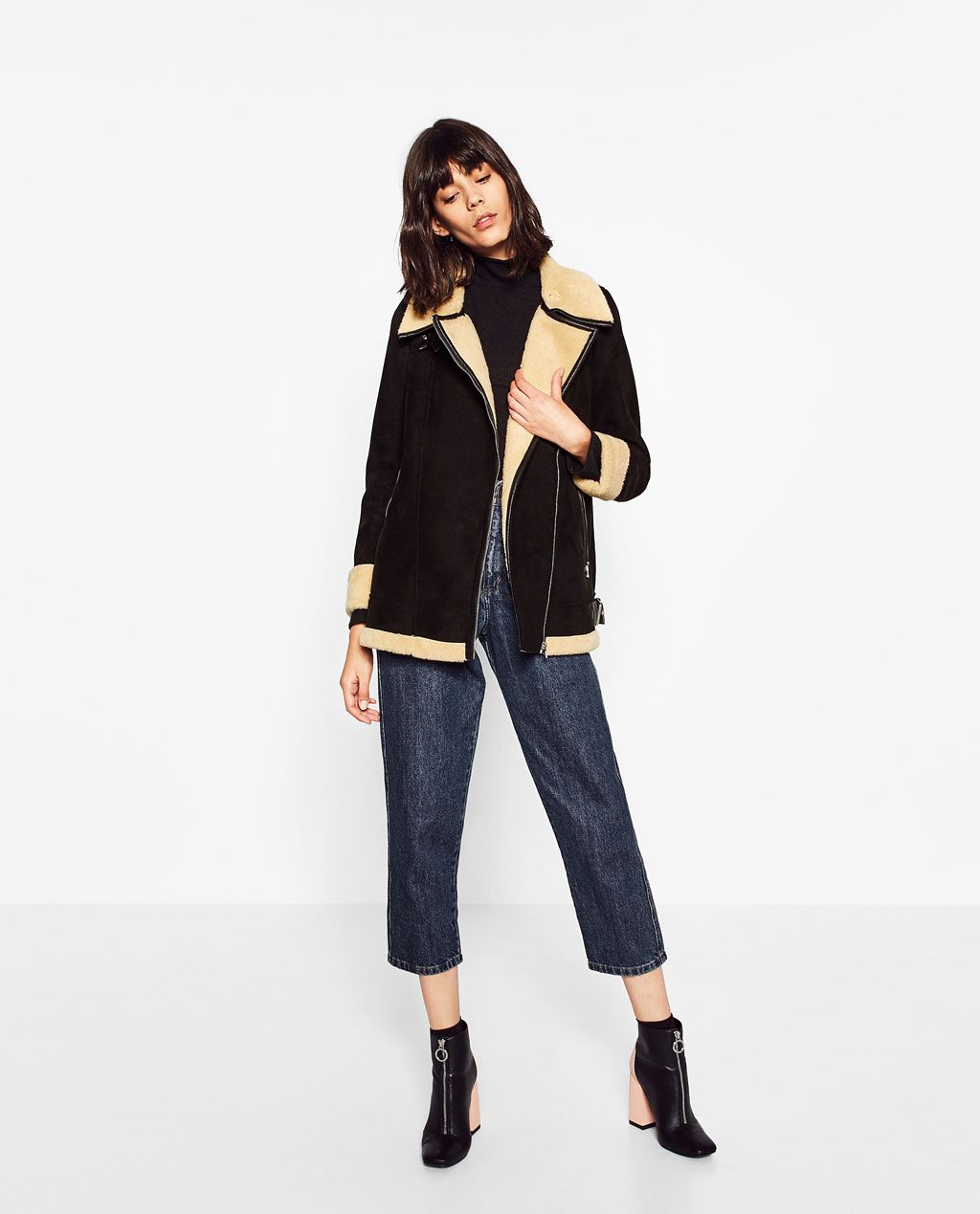 OVERSIZED BIKER JACKET-Coats-OUTERWEAR-WOMAN | ZARA United States | Winter Style | Pinterest ...