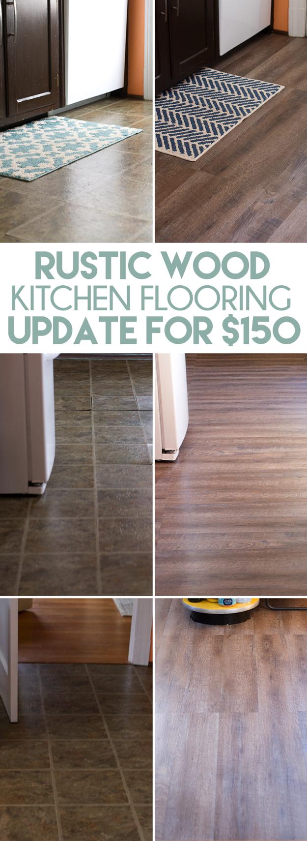 Inexpensive Rustic Wood Kitchen Floors Diy Kitchen Flooring