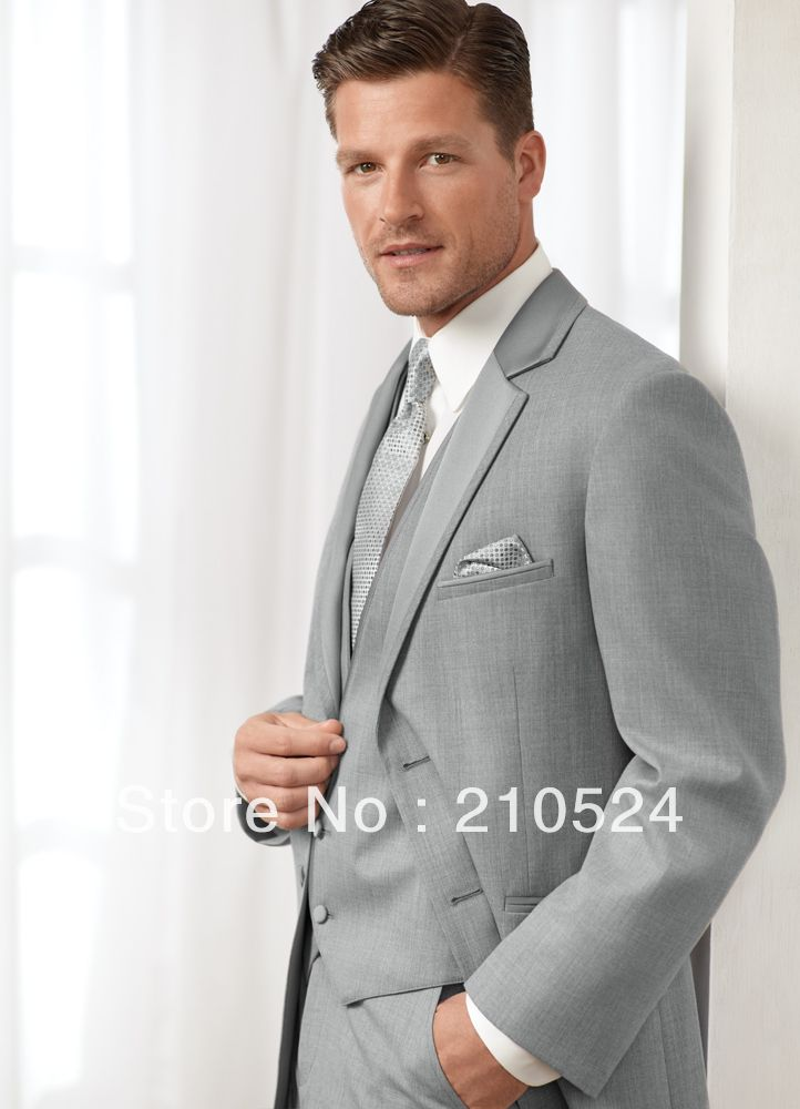 what tie for groom with grey/black suit | ... tie+Napkin Grey Men ...