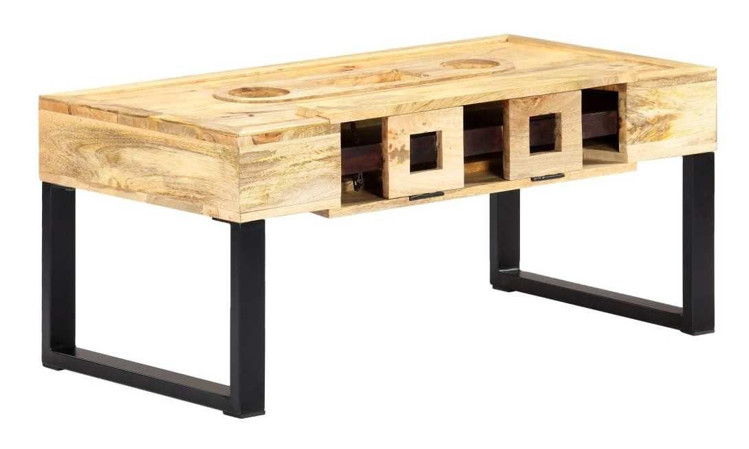 Table Basse Style Cassette 100x52x45 Cm Bois De Manguier Massif