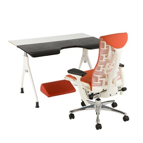 Herman Miller Envelop Desk with Embody Chair and foot rest for