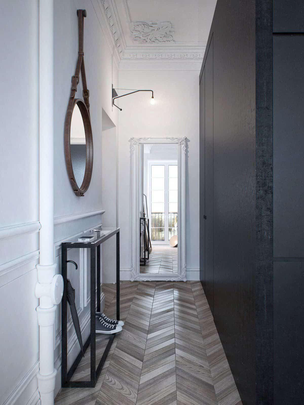 Long hallway decor ideas  Long Hallway With Wall Mirror And Herringbone Floors Also Black Wall