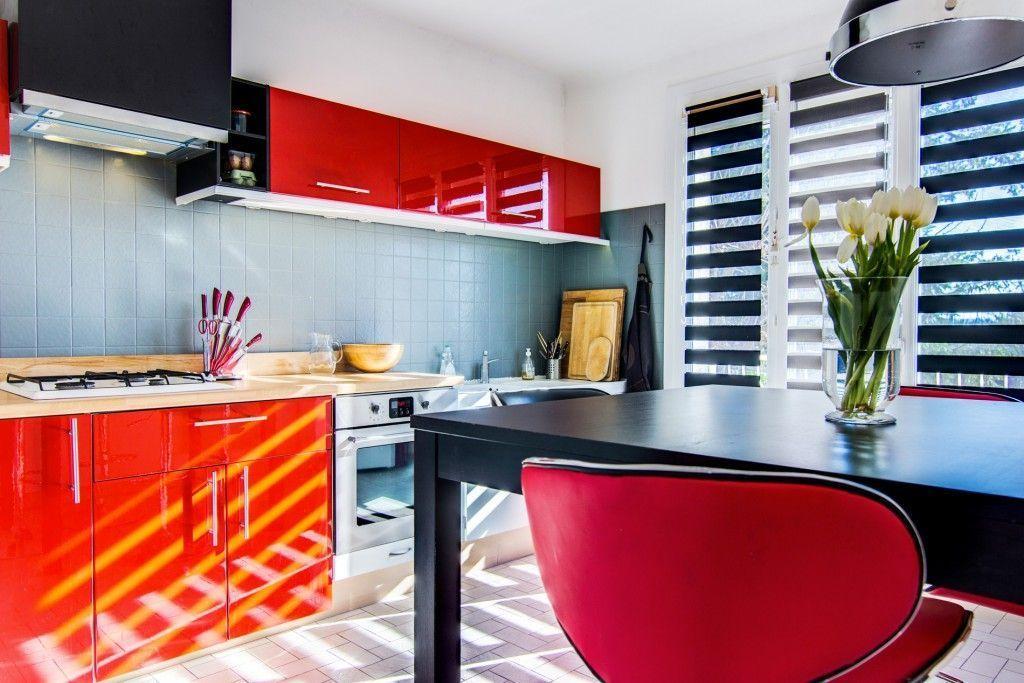 cuisine moderne rouge et grise rénovation cuisine design rouge et